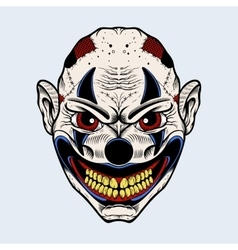 Evil clown with red eyes vector