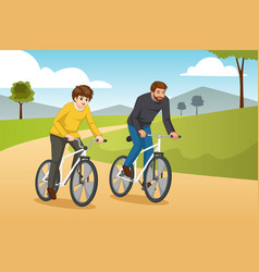 Father and son going biking outdoors vector