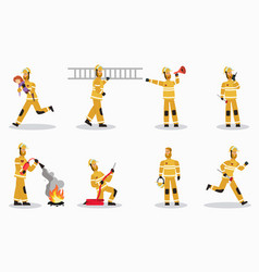 firefighter at work cartoon characters set vector image