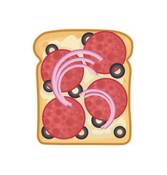 Flat icon of delicious sandwich rye bread vector