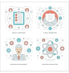 Flat line Management Employee Search E-mail vector image