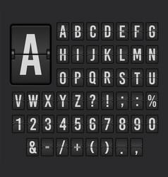 Flip board font set mechanical display design vector