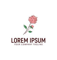 flower logo hand drawn style design concept vector image
