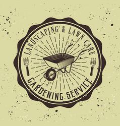 gardening service emblem with wheelbarrow vector image