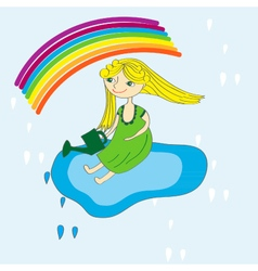 Girl sky and rainbow vector