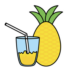 Glass with juice of pineapple vector