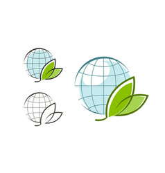 globe with green leaves logo eco natural vector image