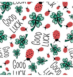 Good luck charms seamless pattern ladybug vector