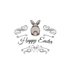 gray easter bunny greeting card swirls bow vector image