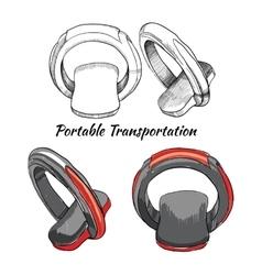 Hand drawn set portable transportation one - vector