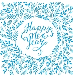 Happy new year card Hand lettering with vector image