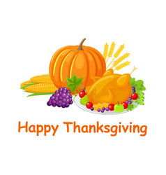 happy thanksgiving day poster with food vector image