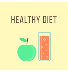 healthy diet with apple and glass of orange juice vector image