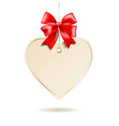 Heart shape frame with red bow hanging on white vector