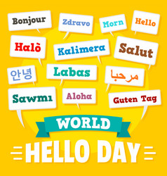 Hello day concept background flat style vector