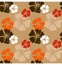 hibiscus pattern in beige vector image