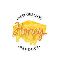 honey flowing from honeycomb label design vector image