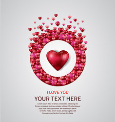 I love you with red heart and love circle vector