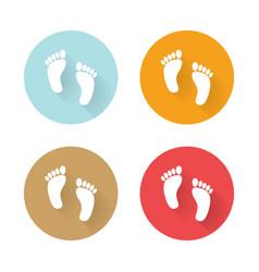 icons human foots long shadows vector image