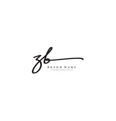 Initial letter zb logo - handwritten signature vector