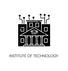 Institute technology black glyph icon vector