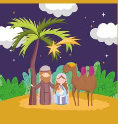 Joseph mary bajesus and camel night desert vector