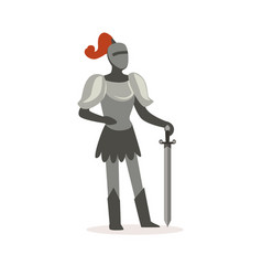 Knight full body armor suit standing with sword vector