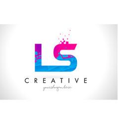 ls l s letter logo with shattered broken blue vector image