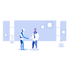 man handshaking with robotic person futuristic vector image