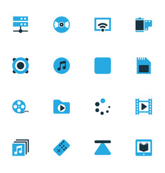 Media colorful icons set collection media vector