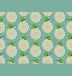 melon whole seamless pattern on green background vector image