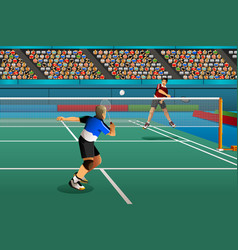 Men playing badminton in competition vector