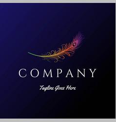 Modern colorful bird peacock feather logo design v vector
