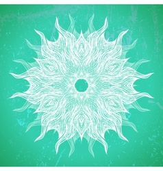 Modern mandala or snowflake design on aqua green vector image
