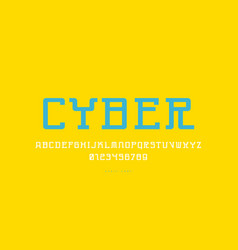 Monospaced serif font in cyber style vector