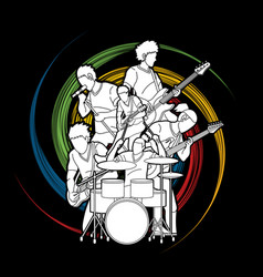 Musician playing music together music band vector