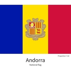 National flag of Andorra with correct proportions vector