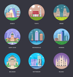 pack of world cities 9 vector image