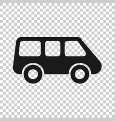 passenger minivan sign icon in transparent style vector image