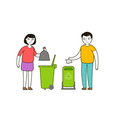 people throw trash in a garbage container trash vector image