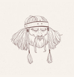 Portrait of ancient warrior with beard and braids vector