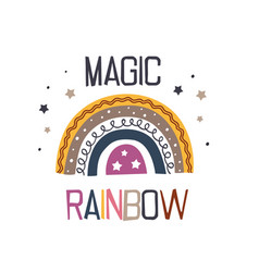 poster with magic rainbow vector image