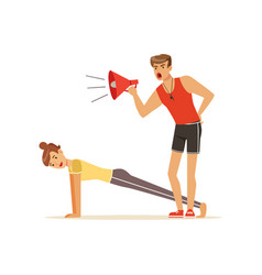 Professional fitness coach with megaphone and vector