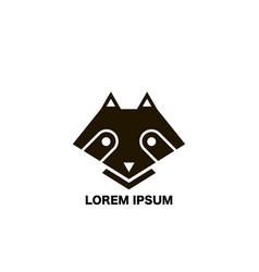 raccoon icon in flat design raccoon black colored vector image