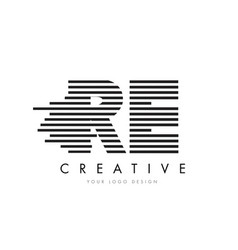 Re r e zebra letter logo design with black and vector