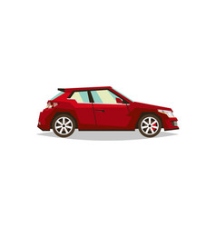 Red car roadster side view transport for travel vector