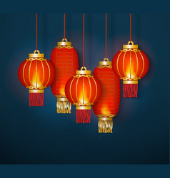 red traditional chinese lanterns vector image