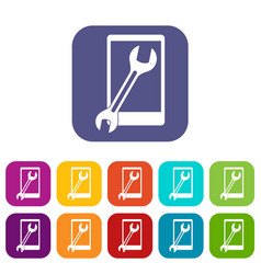 repaired phone icons set flat vector image