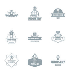 Robo industry logo set simple style vector