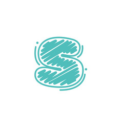 S letter logo in childish wax crayons scribbles vector